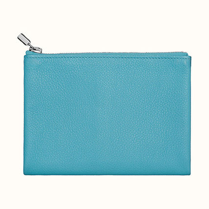 HERMES Coin Cases Unisex Plain Leather Coin Cases 4