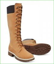 Timberland Street Style Plain Leather Chunky Heels Logo Boots Boots