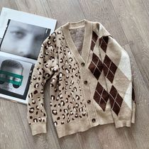 Cable Knit Argile Leopard Patterns Casual Style Rib