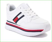 Tommy Hilfiger Stripes Platform Plain Toe Rubber Sole Lace-up Casual Style
