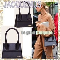 JACQUEMUS Casual Style Calfskin Street Style 2WAY Plain Leather