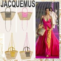 JACQUEMUS Blended Fabrics 2WAY Leather Straw Bags