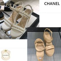 CHANEL Open Toe Casual Style Chain Leather Sandals