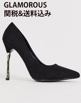 GLAMOROUS Suede Faux Fur Plain Block Heels Party Style Office Style