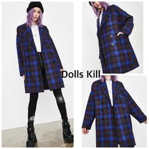 DOLLS KILL Other Check Patterns Casual Style Medium Long Peacoats
