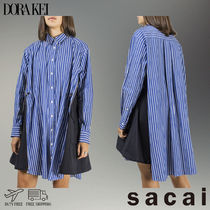 sacai Stripes Casual Style Long Sleeves Cotton Long
