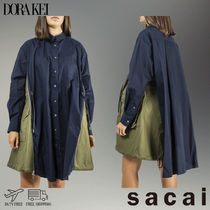 sacai Casual Style Long Sleeves Cotton Long Shirts & Blouses