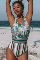 CUPSHE Flower Patterns Tropical Patterns Street Style Halter
