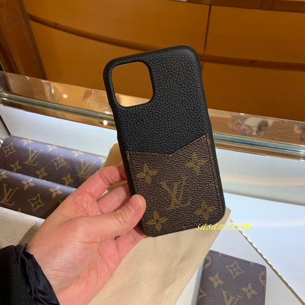 Louis Vuitton Smart Phone Cases Monogram Unisex Blended Fabrics Plain Leather 5