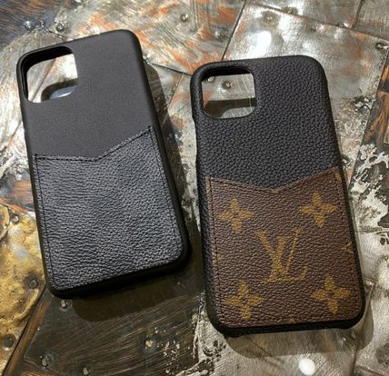 Louis Vuitton Smart Phone Cases Monogram Unisex Blended Fabrics Plain Leather 6