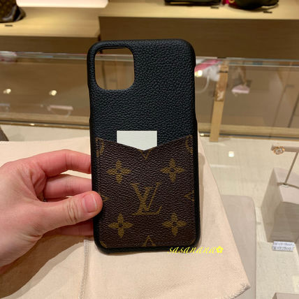 Louis Vuitton Smart Phone Cases Monogram Unisex Blended Fabrics Plain Leather 3