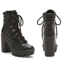 Jessica Simpson Platform Lace-up Leather Block Heels Boots Boots