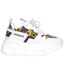 VERSACE Platform Casual Style Street Style Plain Leather Logo
