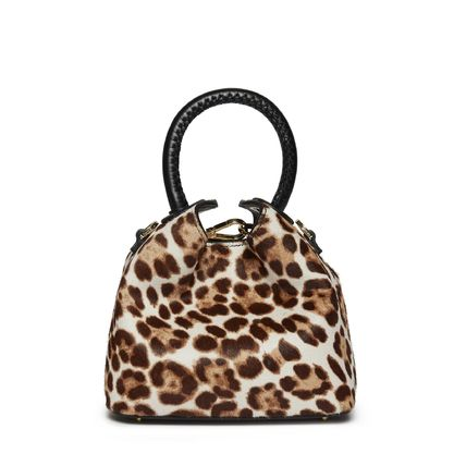 Leopard Patterns Casual Style Calfskin Blended Fabrics 2WAY