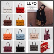 Lupo Barcelona Casual Style A4 2WAY Plain Leather Party Style Office Style