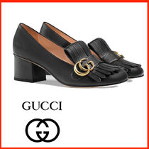 GUCCI GG Marmont Plain Leather Block Heels Block Heel Pumps & Mules