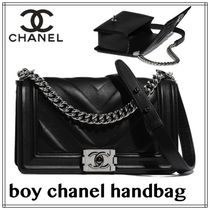 CHANEL BOY CHANEL Casual Style Calfskin Studded Street Style 2WAY Plain