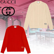 GUCCI Cable Knit Wool Blended Fabrics Long Sleeves Vests & Gillets