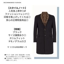 FENDI Monogram Wool Long Logo Chester Coats