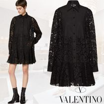 VALENTINO Short A-line Flared Long Sleeves Plain Cotton Lace