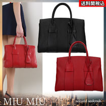MiuMiu MADRAS Calfskin A4 2WAY Plain Leather Office Style Elegant Style