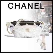 CHANEL Blended Fabrics Bi-color Chain Leather Shearling Hip Packs
