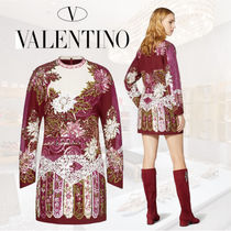 VALENTINO Short Flower Patterns Casual Style Tight Wool Silk
