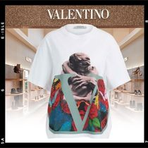 VALENTINO Crew Neck Cotton Short Sleeves Oversized Logo T-Shirts