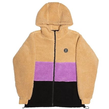 Short Unisex Bi-color Plain Logo Fleece Jackets Jackets