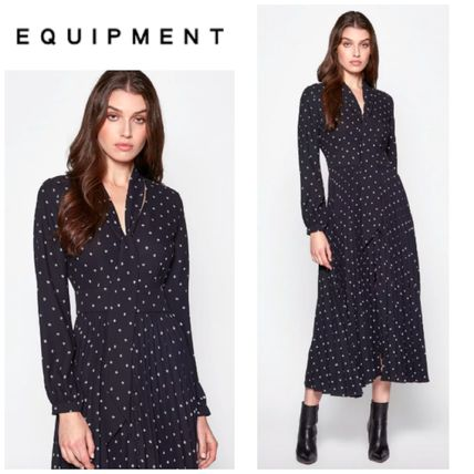 Dots Casual Style A-line Long Sleeves Long Party Style
