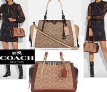 Coach DREAMER Casual Style Calfskin Canvas 2WAY Party Style Office Style