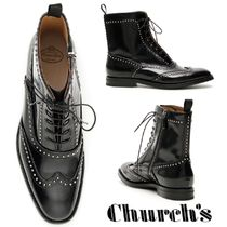 Church's Round Toe Rubber Sole Studded Plain Leather Flat Boots
