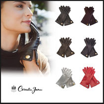 Cornelia James Plain Leather Leather & Faux Leather Gloves