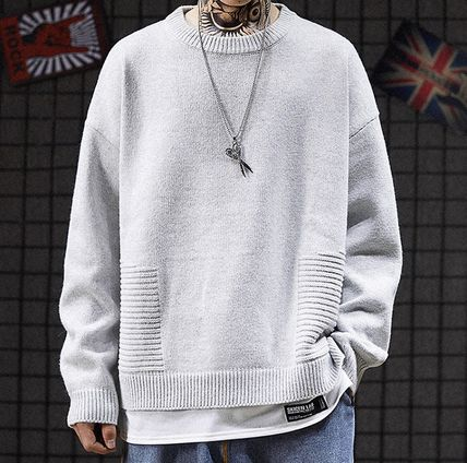 Knits & Sweaters Crew Neck Pullovers Street Style Long Sleeves Plain