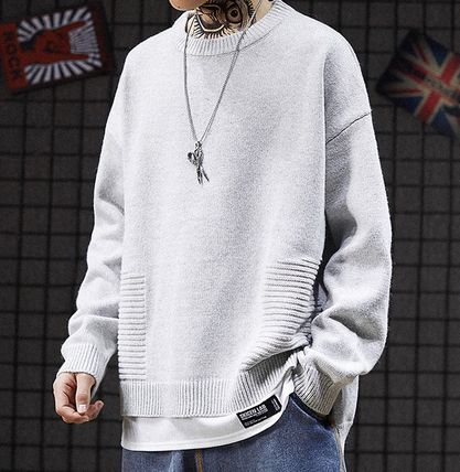 Knits & Sweaters Crew Neck Pullovers Street Style Long Sleeves Plain 2