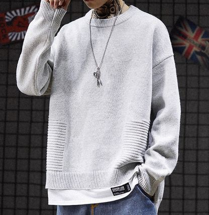 Knits & Sweaters Crew Neck Pullovers Street Style Long Sleeves Plain 6