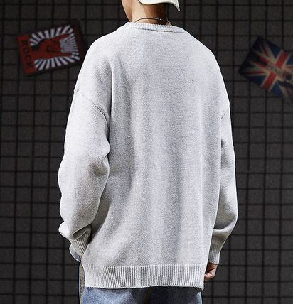 Knits & Sweaters Crew Neck Pullovers Street Style Long Sleeves Plain 7
