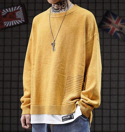 Knits & Sweaters Crew Neck Pullovers Street Style Long Sleeves Plain 9