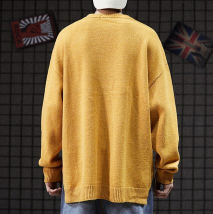 Knits & Sweaters Crew Neck Pullovers Street Style Long Sleeves Plain 13