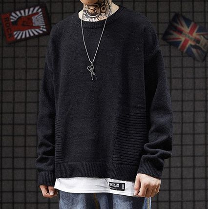 Knits & Sweaters Crew Neck Pullovers Street Style Long Sleeves Plain 15
