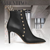 VALENTINO Casual Style Studded Leather Pin Heels Elegant Style