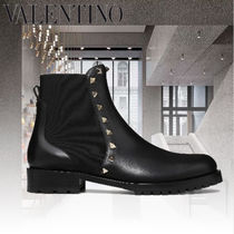 VALENTINO Casual Style Studded Leather Chelsea Boots Elegant Style