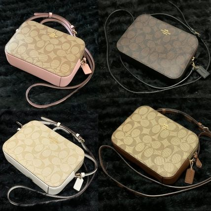Coach Shoulder Bags Monogram Casual Style Canvas Leather Elegant Style Crossbody 12