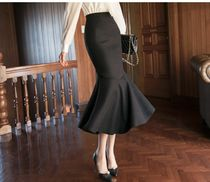 DINT Flared Skirts Casual Style Plain Medium Long Party Style