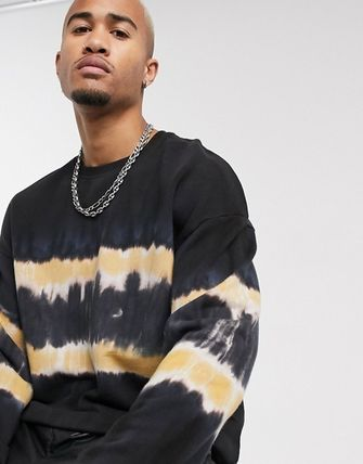 Crew Neck Pullovers Street Style Tie-dye Long Sleeves Cotton