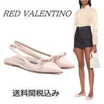 RED VALENTINO Plain Leather Elegant Style Pointed Toe Shoes