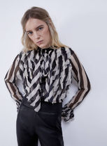 Uterque Stripes Casual Style Chiffon Long Sleeves Medium Party Style