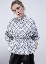Uterque Other Check Patterns Casual Style Puffed Sleeves