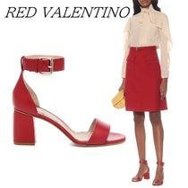 RED VALENTINO Dots Open Toe Round Toe Plain Leather Block Heels