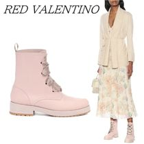 RED VALENTINO Round Toe Lace-up Plain Leather Elegant Style Lace-up Boots